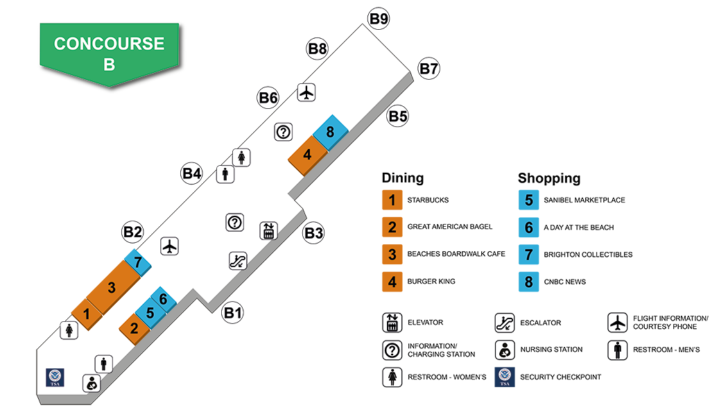 Southwest Florida International Airport Concourse B Map and Index